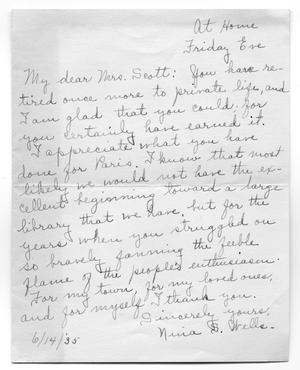 [Letter from Nina S. Wells to Carolyn Street Scott, June 14, 1935]