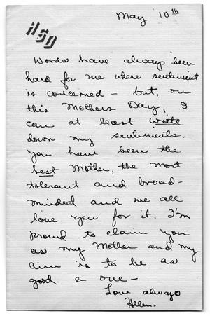 Primary view of object titled '[Mother's day note from Helen Marion Scott Dickson to Carolyn Street Scott]'.
