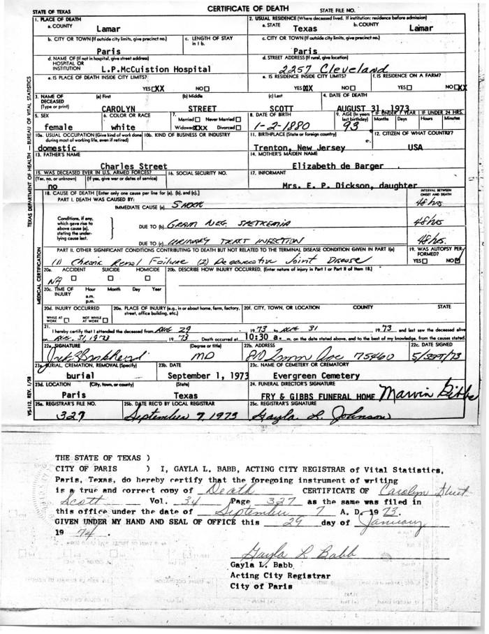 Death certificate of Carolyn Street Scott] - The Portal to Texas History