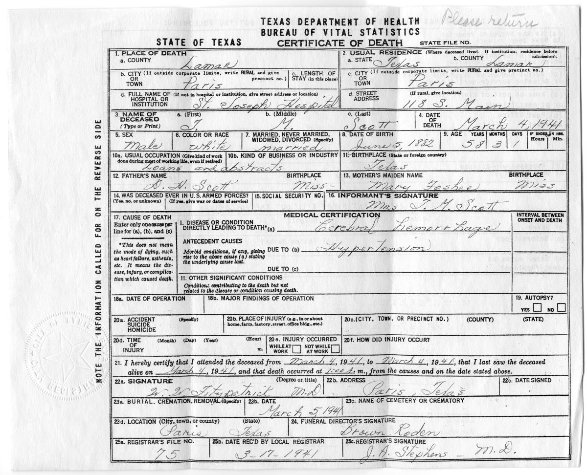 [Death Certificate Of Thomas McGee Scott]