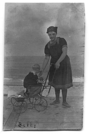 Primary view of object titled '[Carolyn Scott with daughter Betty Scott at the beach]'.