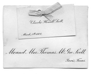 Primary view of object titled '[Announcement card for the birth of Charles Howell Scott ]'.