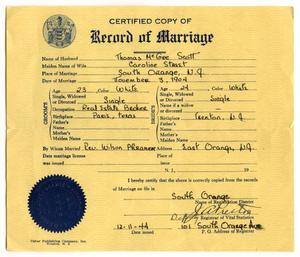 Primary view of object titled '[Certified copy of Record of Marriage for Tom and Carolyn Scott]'.