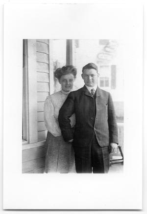 Primary view of object titled '[Tom and Carolyn Scott on their wedding day]'.