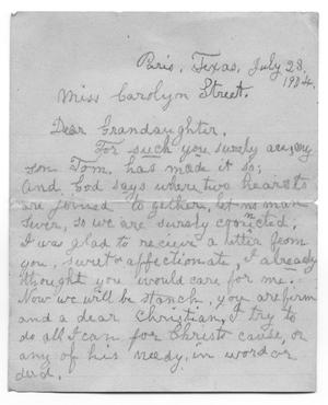 [Letter from Tom's Grandmother to Carolyn Street, July 28,1904]
