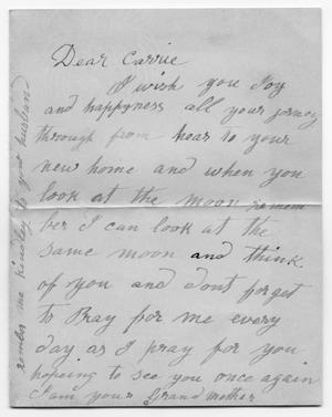 [Letter to Carolyn M. Scott from her Grandmother]