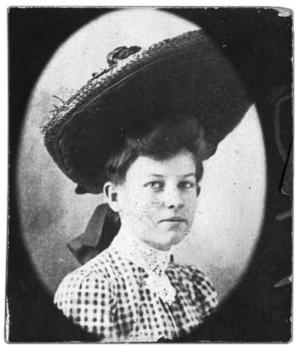 Primary view of object titled 'Double portrait of awoman wearing a large hat'.