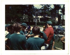 Primary view of object titled 'Group of boys wearing uniform caps and t-shirts'.