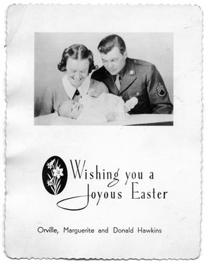 Greeting card of Orville, Marguerite and Donald Hawkins