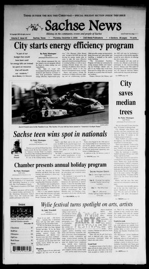 Primary view of object titled 'The Sachse News (Sachse, Tex.), Vol. 5, No. 45, Ed. 1 Thursday, December 3, 2009'.