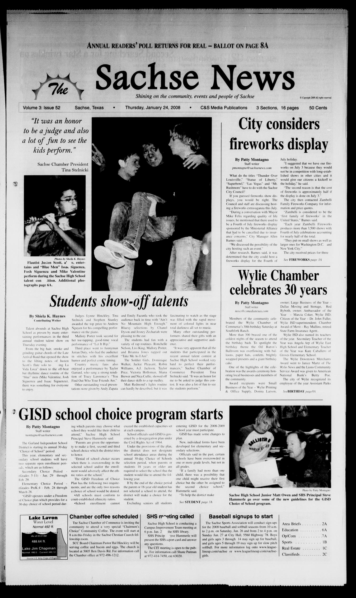 The Sachse News (Sachse, Tex.), Vol. 3, No. 52, Ed. 1 Thursday, January 24, 2008                                                                                                      [Sequence #]: 1 of 16