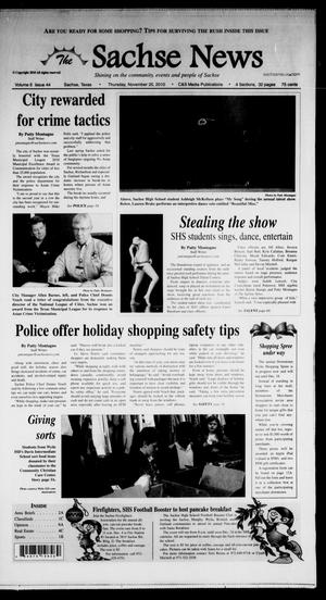 Primary view of object titled 'The Sachse News (Sachse, Tex.), Vol. 6, No. 44, Ed. 1 Thursday, November 25, 2010'.
