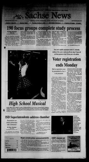 Primary view of object titled 'The Sachse News (Sachse, Tex.), Vol. 4, No. 36, Ed. 1 Thursday, October 2, 2008'.