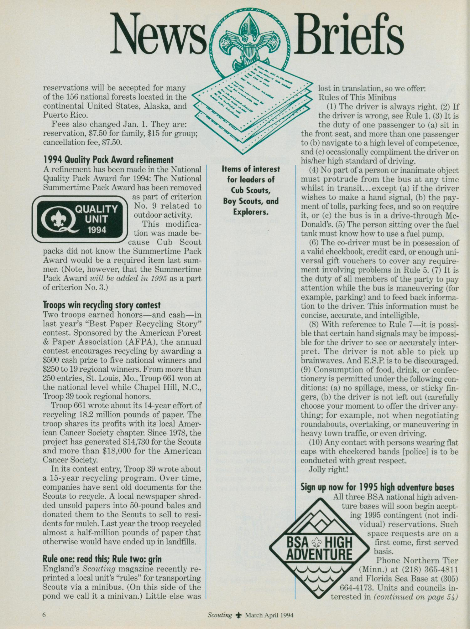 Scouting, Volume 82, Number 2, March-April 1994                                                                                                      6