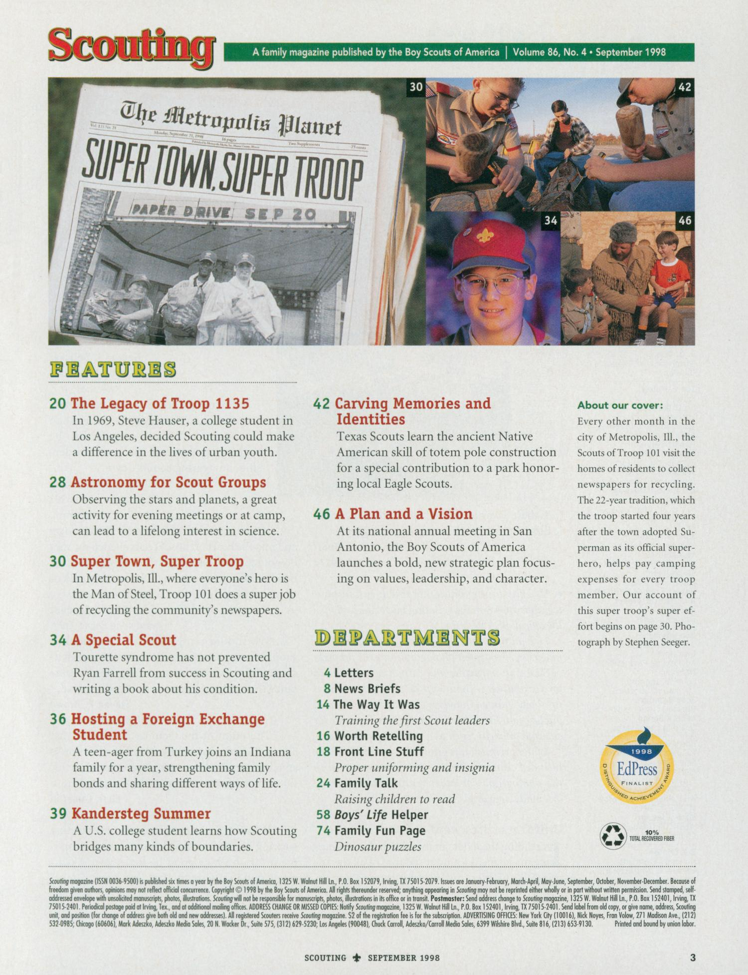 Scouting, Volume 86, Number 4, September 1998                                                                                                      3