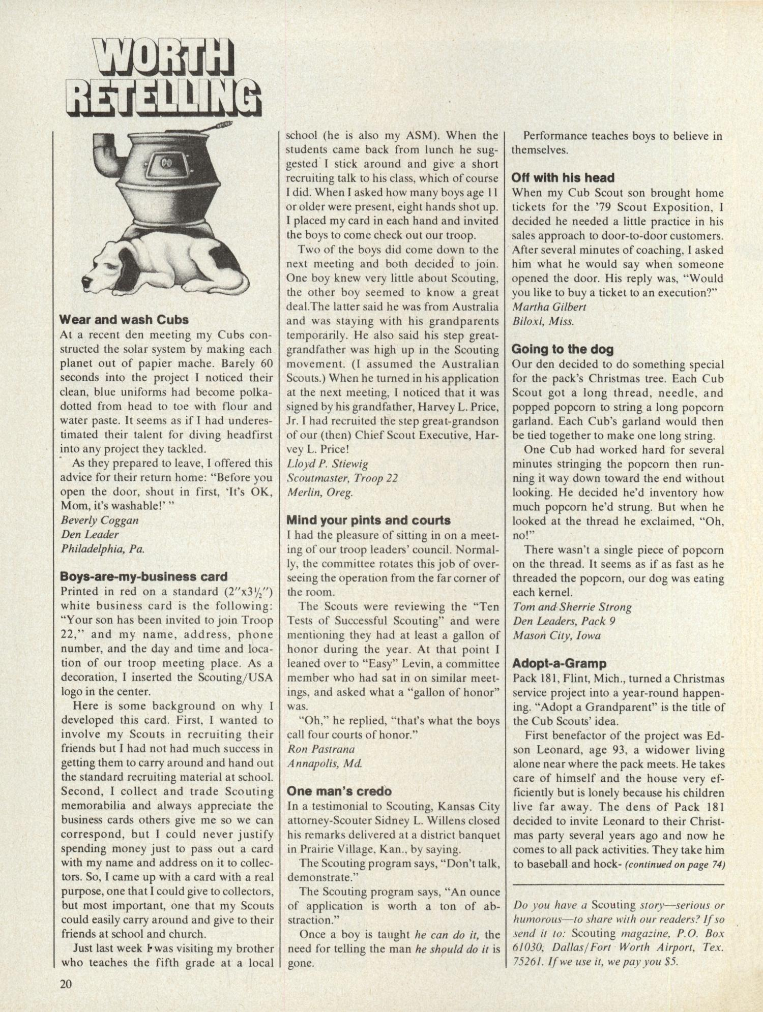 Scouting, Volume 67, Number 5, October 1979                                                                                                      20