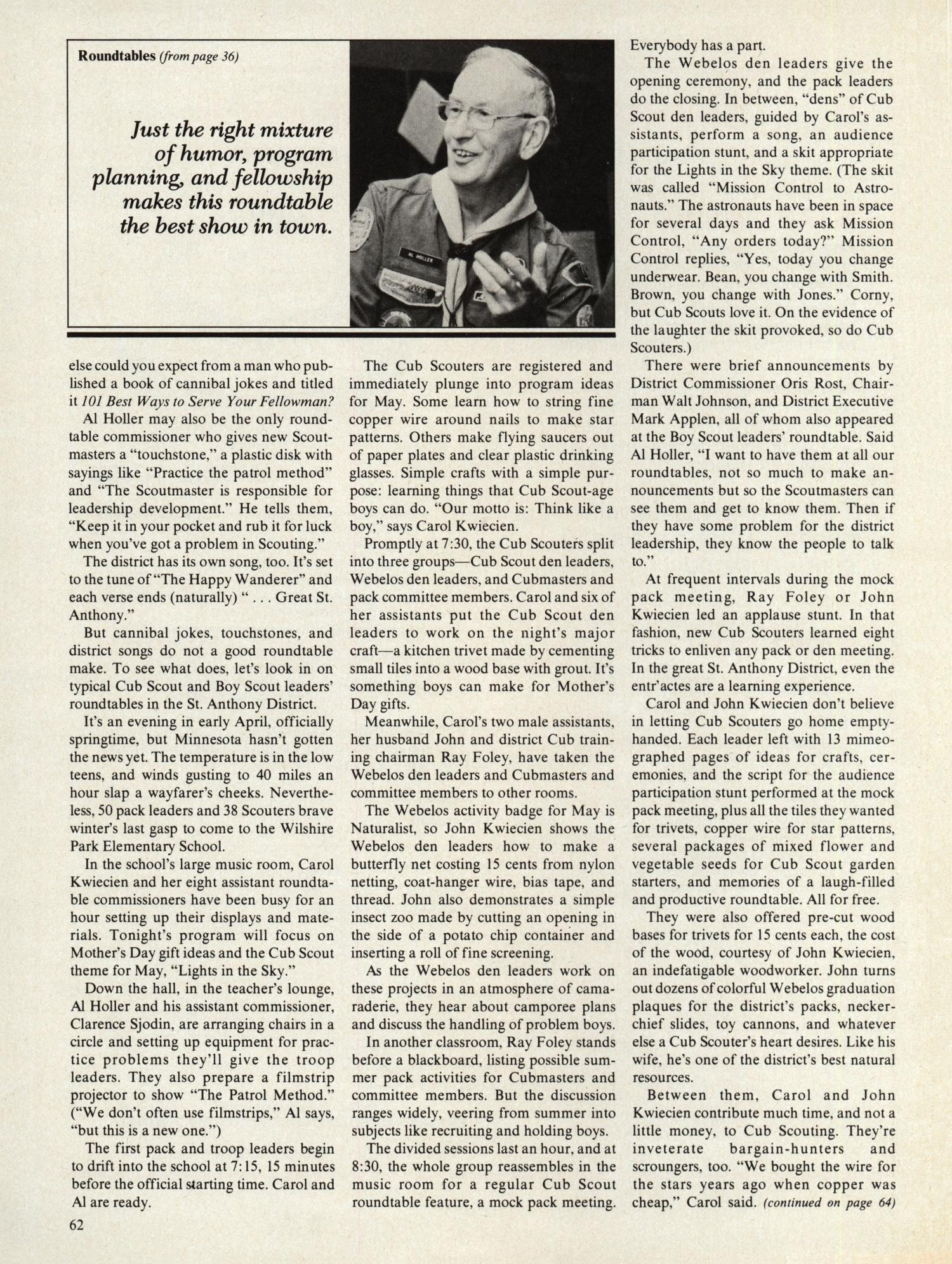 Scouting, Volume 67, Number 5, October 1979                                                                                                      62