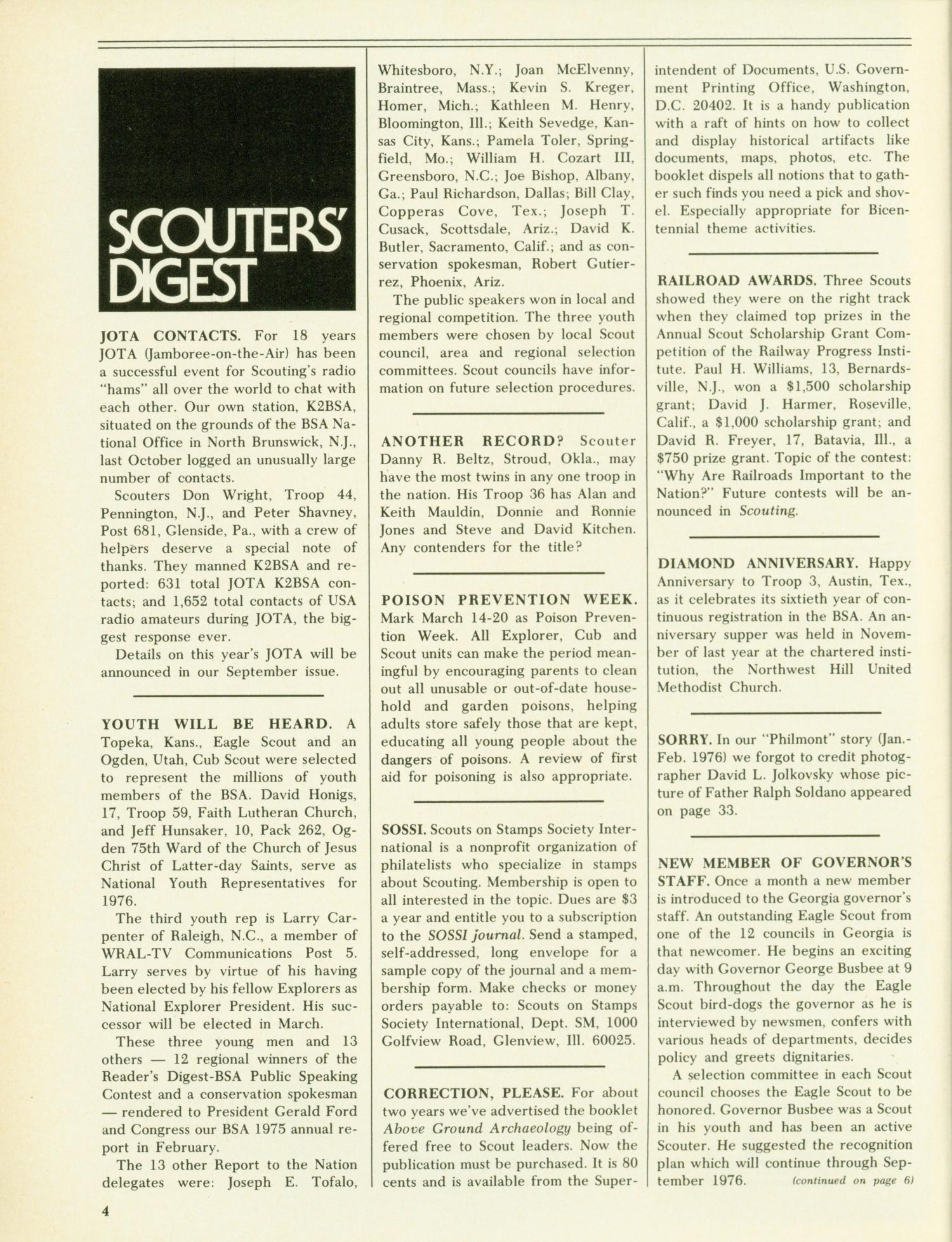 Scouting, Volume 64, Number 2, March-April 1976                                                                                                      4