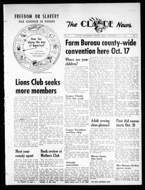 Primary view of object titled 'The Claude News (Claude, Tex.), Vol. 71, No. 7, Ed. 1 Thursday, October 6, 1960'.