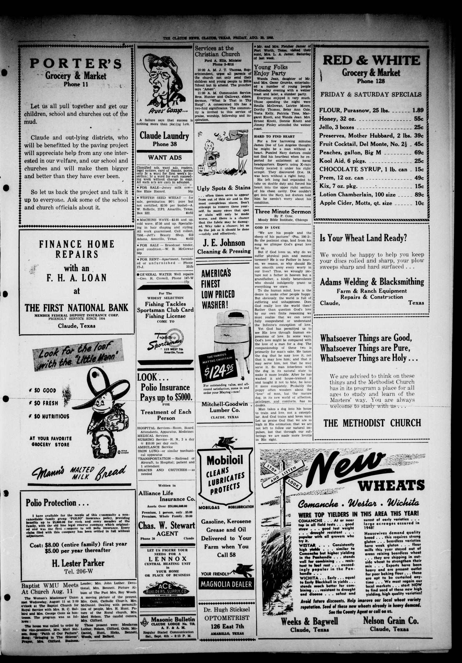 Claude News (Claude, Tex.), Vol. 57, No. 50, Ed. 1 Friday, August 20, 1948                                                                                                      [Sequence #]: 3 of 4