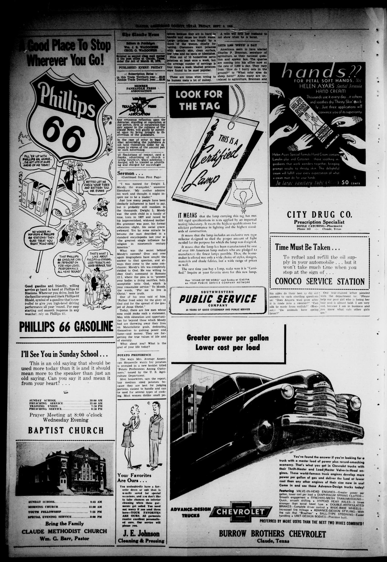 Claude News (Claude, Tex.), Vol. 59, No. 1, Ed. 1 Friday, September 9, 1949                                                                                                      [Sequence #]: 2 of 4