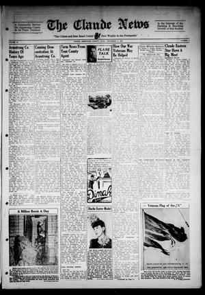 Primary view of object titled 'Claude News (Claude, Tex.), Vol. 54, No. 2, Ed. 1 Friday, September 8, 1944'.
