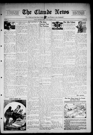Primary view of object titled 'Claude News (Claude, Tex.), Vol. 55, No. 12, Ed. 1 Friday, November 23, 1945'.