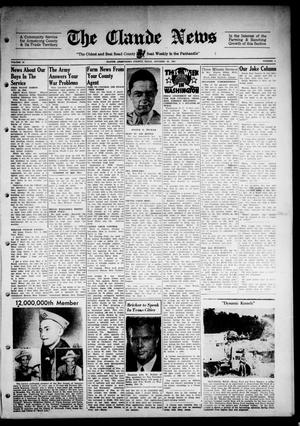 Primary view of object titled 'Claude News (Claude, Tex.), Vol. 54, No. 8, Ed. 1 Friday, October 20, 1944'.