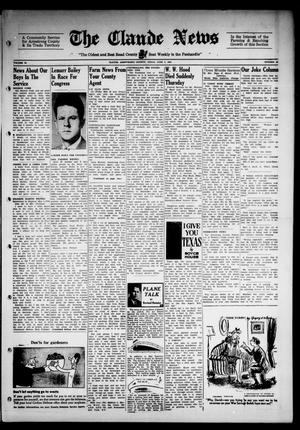 Primary view of object titled 'Claude News (Claude, Tex.), Vol. 53, No. 40, Ed. 1 Friday, June 2, 1944'.