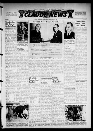 Primary view of object titled 'Claude News (Claude, Tex.), Vol. 56, No. 5, Ed. 1 Friday, October 11, 1946'.