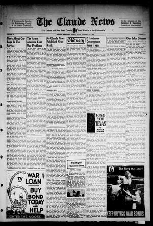Primary view of object titled 'Claude News (Claude, Tex.), Vol. 54, No. 17, Ed. 1 Friday, December 22, 1944'.