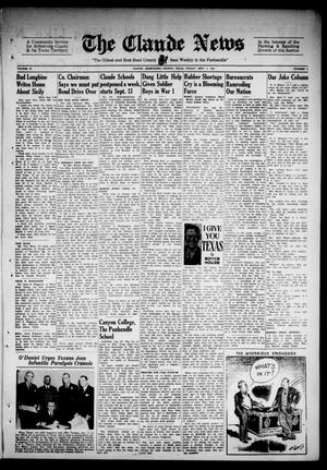 Primary view of object titled 'Claude News (Claude, Tex.), Vol. 53, No. 2, Ed. 1 Friday, September 3, 1943'.