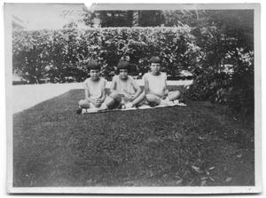 Primary view of object titled 'Charles Vise's three children sitting together on the lawn of a house'.