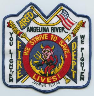 Primary view of object titled '[Angelina River, Texas Fire Department Patch]'.