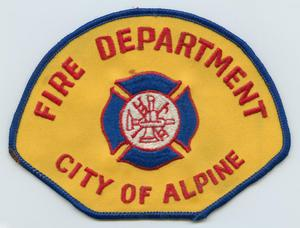 Primary view of object titled '[Alpine, Texas Fire Department Patch]'.