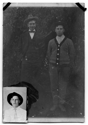 Primary view of object titled 'Postcard of Jim Scrivner Sr and another man'.