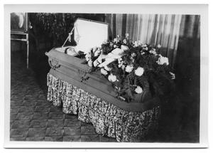 Primary view of object titled 'Open casket of Bunt Vise at his funeral service'.