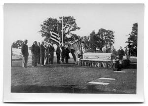 Primary view of object titled 'Veterans stand at attention at Bunt Vise's funeral'.