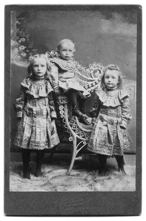 Primary view of object titled 'E.H. Scrvner's three children in elegant clothes in a studio portrait'.
