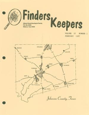 Primary view of object titled 'Finders Keepers, Volume 4, Number 1, February 1987'.