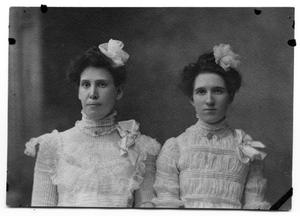 Primary view of object titled 'Sammie Vise and Neely Scrivner in elegant dresses'.