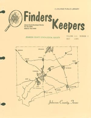 Primary view of object titled 'Finders Keepers, Volume 3, Number 2, May 1986'.