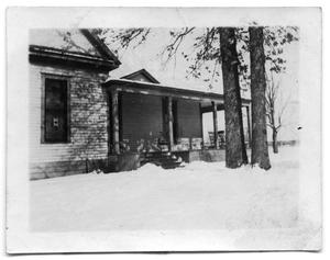 Primary view of object titled 'Portrait of the Scrivner house covered in snow'.