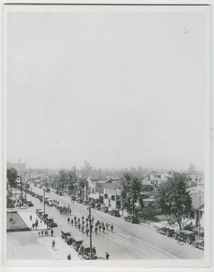 [Aerial view of funeral procession]