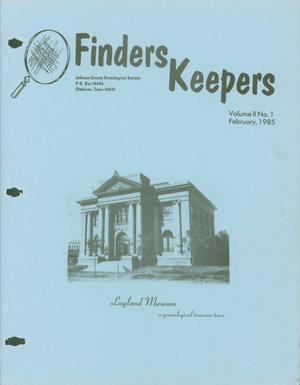 Primary view of object titled 'Finders Keepers, Volume 2, Number 1, February 1985'.