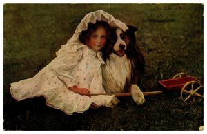 [Young Girl and Dog Seated on the Grass]