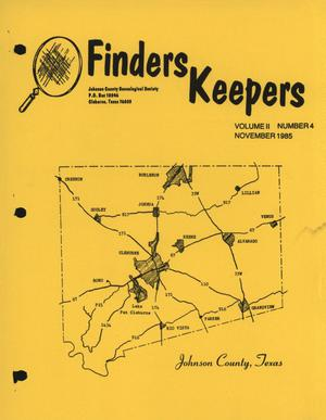 Primary view of object titled 'Finders Keepers, Volume 2, Number 4, November 1985'.