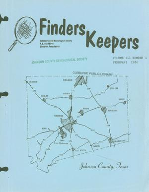Primary view of object titled 'Finders Keepers, Volume 3, Number 1, February 1986'.