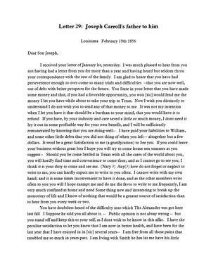 [Transcript of letter from Joseph Carroll to Joseph A. Carroll, February 19, 1856]