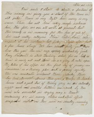 Primary view of object titled '[Letter from Henry S. Carroll to Joseph A. Carroll, November 20, 1859]'.